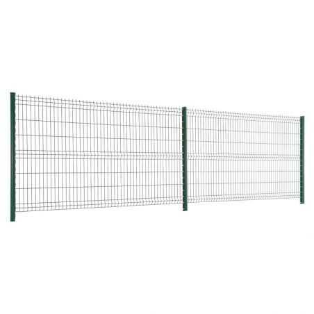 5 mètres de clôture panneaux grillage rigide vert hauteur 1m53