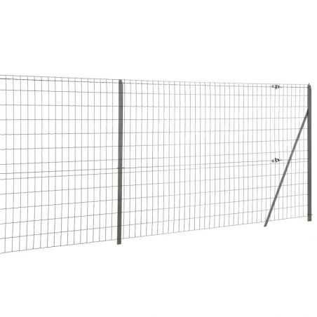 Travée de clôture en grillage soudé avec fil d'attache - gris anthracite