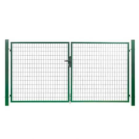 Portail grillagé maille 100x50 passage 3 mètres - vert