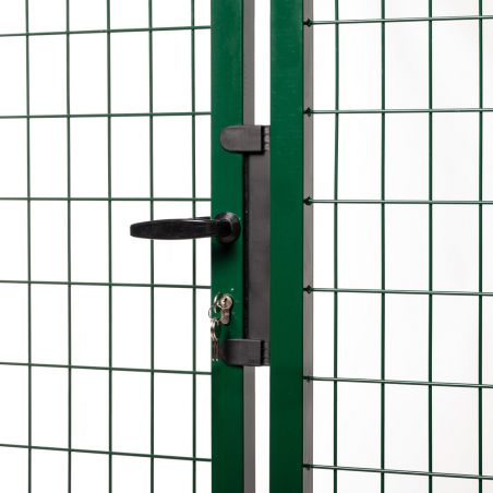 Zoom poignée et serrure portail grillagé passage 3 mètres - vert