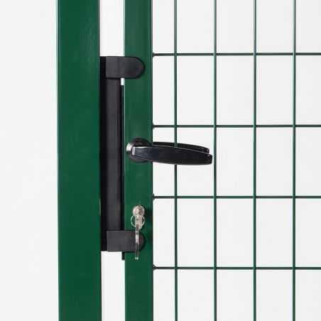 Zoom poignée et serrure portillon grillagé largeur 1m20 - vert