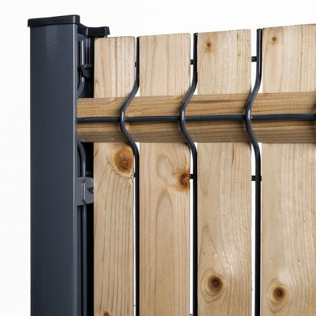 Zoom kit bois sur poteau à clip gris anthracite