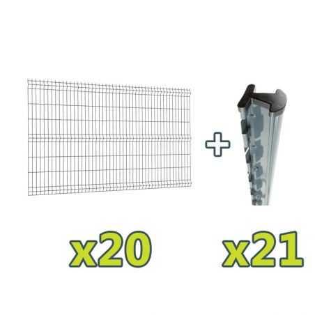 Contenu du kit clôture panneau rigide Easy PRO 5 - 50 mètres