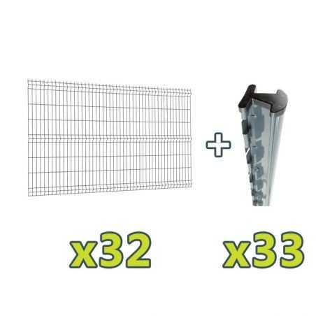 Contenu du kit clôture panneau rigide Easy PRO 5 - 80 mètres