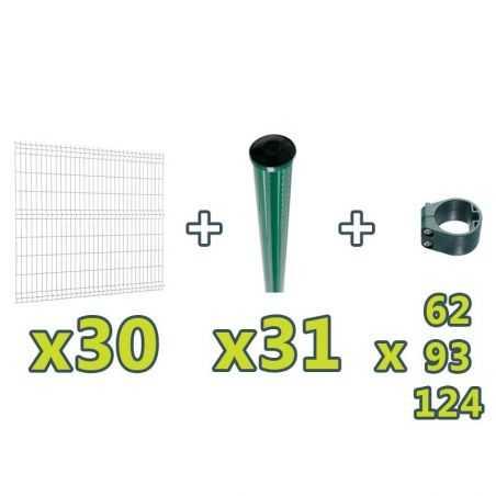 Contenu du kit clôture panneau rigide Easy Home - 60 mètres