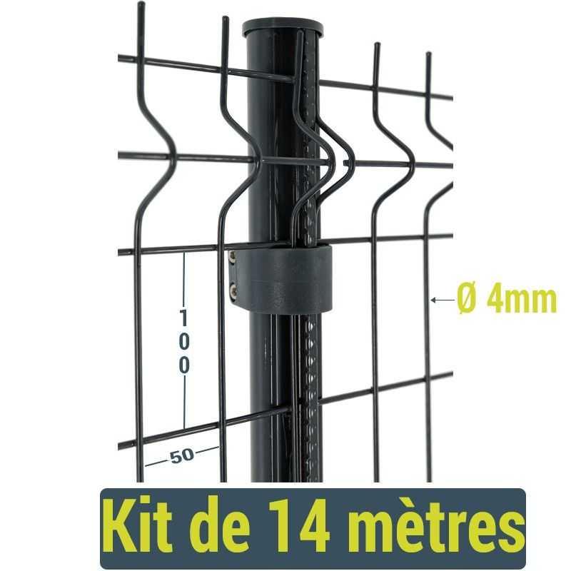 Kit clôture panneau rigide Easy Home - 14 mètres