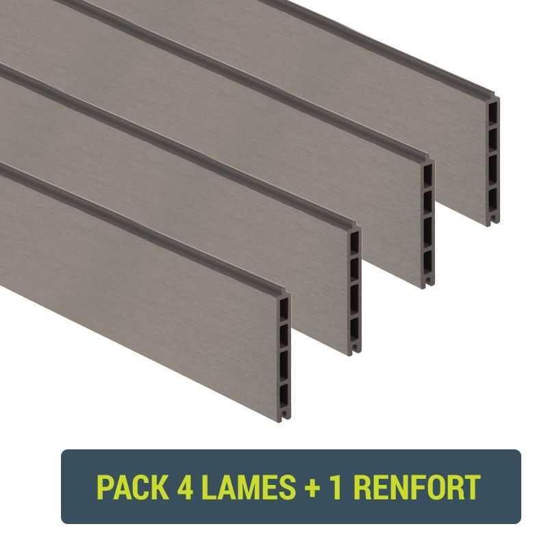 Pack de 4 lames composite - Gris clair