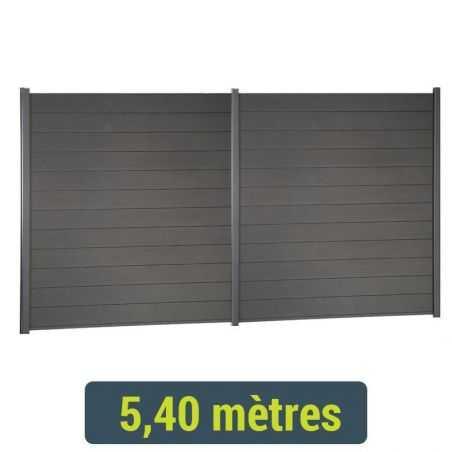 Kit de clôture lame composite - 5 mètres 40 - Gris Anthracite