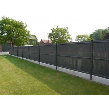 Clôture panneaux rigides avec occultation en lamelles PVC gris anthracite