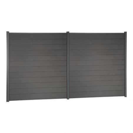 Travée de clôture en bois composite couleur gris anthracite