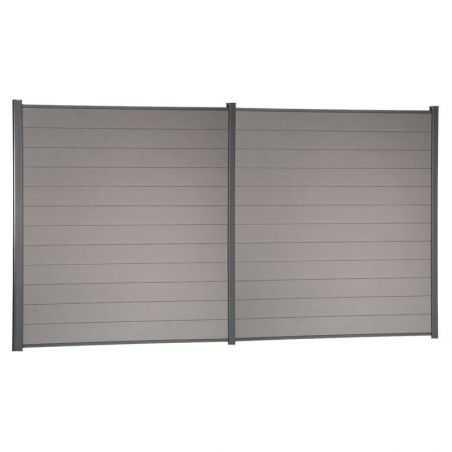 Travée de clôture en bois composite couleur gris clair