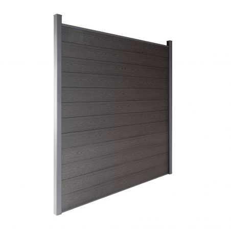 Travée de clôture en bois composite couleur gris anthracite aspect bois