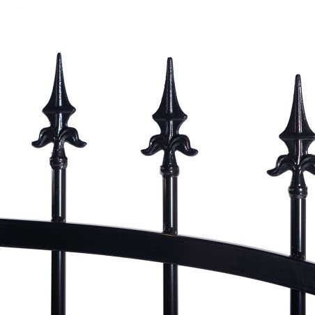Zoom pointes portail aluminium noir