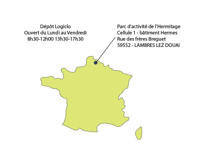 Carte de France avec localisation de l'entrepôt LOGICLO de retrait de commande Easycloture