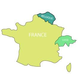 Carte des pays livrés par Easycloture : France, Belgique, Suisse